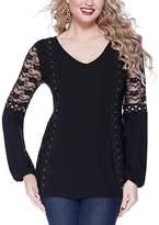 Belldini Black Lace V-Neck Top - Women