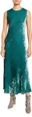 Sies Marjan Velvet Corded Crewneck Dress, Green