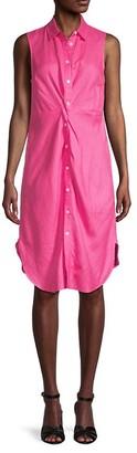 Saks Fifth Avenue Sleeveless Linen Shirtdress