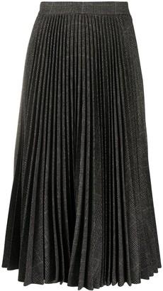 MICHAEL Michael Kors Check Pleated Midi Skirt