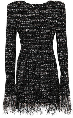 Balmain Short Ls Dark Pastel Tweed Dress