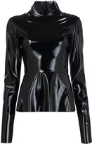 Tome leather effect turtleneck top