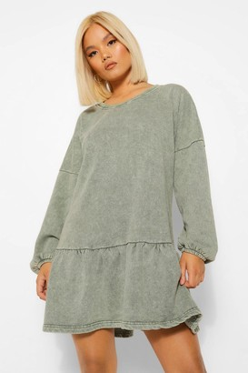 boohoo Petite Acid Wash Frill Hem Sweat Dress