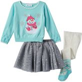 Bonnie Jean Baby Girl Scalloped Snowman Sweater, Payette Sequin Skirt & Tights Set