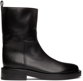 Ann Demeulemeester Black Leather Zip-Up Boots