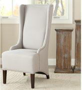 Safavieh En Vogue Dining Deco Bacall Nailhead Beige Linen Side Chair