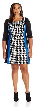 Star Vixen Women's Plus Size Elbow Sleeve Houndstooth Fit N Flare Print Tri-Colorblock Slimming Panel Stretch Ponte Dress