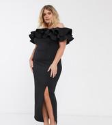 True Violet Plus bandeau ruffle maxi dress in black
