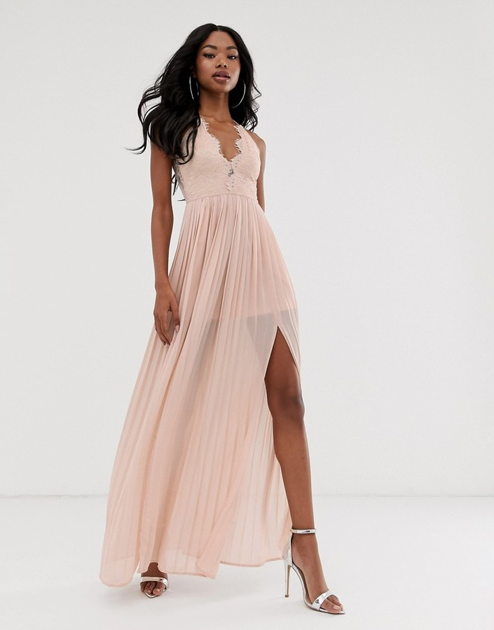 Rare London maxi dress with cup detail and scalloped back in taupe-Pink
