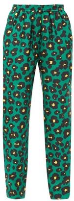 La DoubleJ Flower Leopard-print Silk-twill Trousers - Womens - Green Print