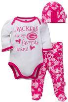 Baby Girl Green Bay Packers 3-Piece Bodysuit, Pants & Cap Set