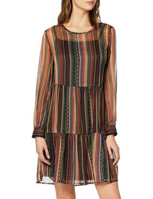 Only Women's Onlarlene L/s Dress WVN Party Brown Ginger Bread Small (Size: 36)