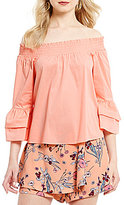 Copper Key Off-The-Shoulder Ruffle Bell-Sleeve Top