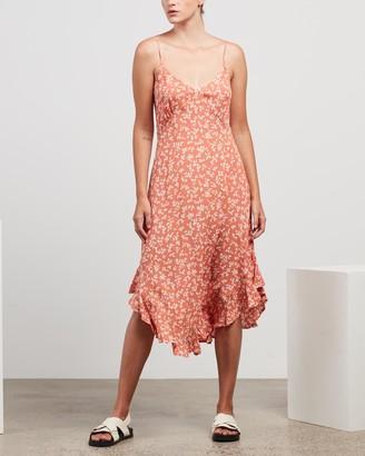Kivari - Women's Orange Midi Dresses - Olivia Floral Strappy Midi Dress - Size S at The Iconic