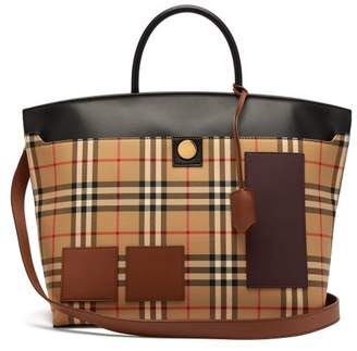 Burberry Society House Check Canvas Tote Bag - Womens - Beige Multi