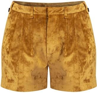 Gisy Anise Gold Velvet Shorts