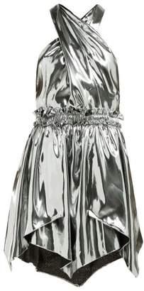 Isabel Marant Kary Metallic Silk Blend Mini Dress - Womens - Silver