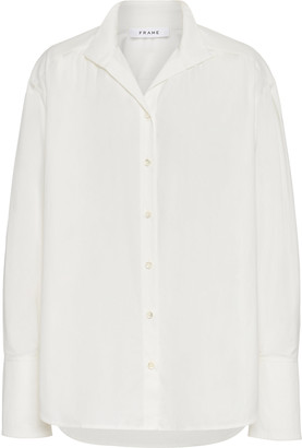 Frame Easy Pleated Button-Down Cotton Shirt