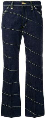 Tory Burch diagonal stitch jeans