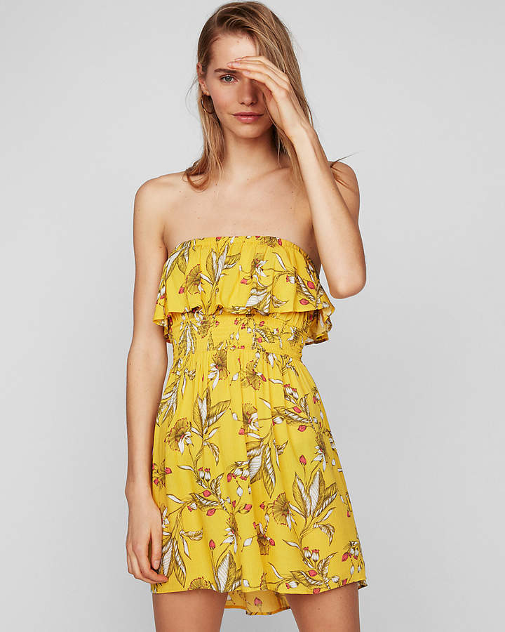 Express Petite Floral Ruffle Front Smocked Cami Dress