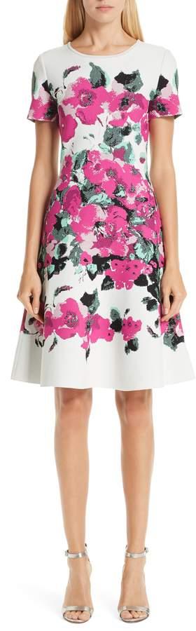 St. John Vibrant Blooming Jacquard Fit & Flare Dress