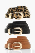 Thumbnail for your product : boohoo 3 Pack Skinny Belt