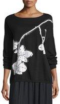 Joan Vass Sequined Orchid Intarsia Sweater, Black/White, Petite