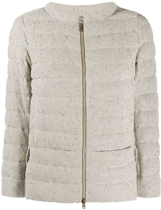 Herno Funnel-Neck Quilted Boucle Jacket