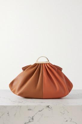 THE VOLON Gabi Large Two-tone Leather Clutch - Brick
