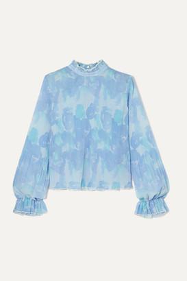 Ganni Ruffled Floral-print Plisse-georgette Top - Sky blue