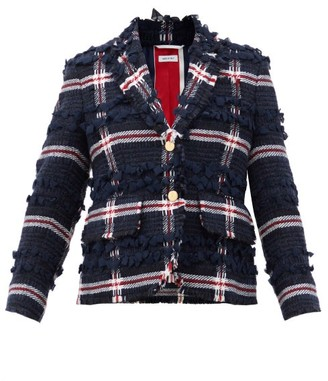 Thom Browne Single-breasted Wool-blend Tweed Jacket - Navy Multi