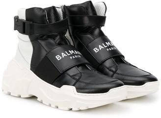 Balmain Kids TEEN logo-strap high top trainers
