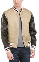 Moncler Leather-sleeve Down Bomber Jacket.