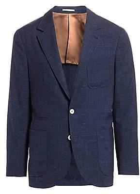 Brunello Cucinelli Men's Textured Solid Three Patch Pocket Silk, Wool & Linen Jacket