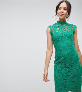 Paper Dolls Tall high neck lace midi dress in emerald green