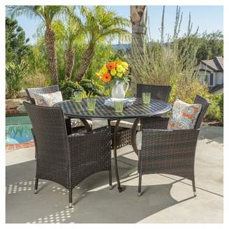 Christopher Knight Home Elk 5pc Round Metal Patio Dining Set w/ All-Weather Wicker Chairs - Shiny Copper/Brown
