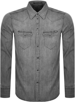 Replay Long Sleeved Denim Shirt Grey