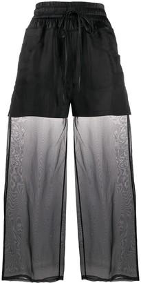 Andrea Ya'aqov Sheer-Panel Flared Trousers