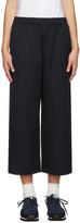 Comme des Garcons Navy Wide-Leg Wool Trousers