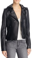 Linea Pelle Hooded Leather Moto Jacket