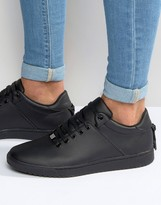 Asos Sneakers in Black With Back Lace and Gold Details