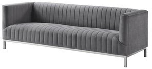 INSPIRED HOME Ethan Velvet Tuxedo Sofa with Stainless Steel Legs