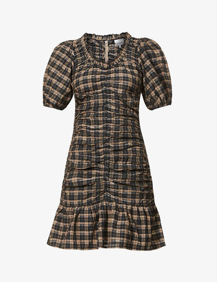 Ganni Gingham-print organic cotton and recycled polyester-blend mini dress