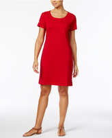 Karen Scott Cotton Button-Shoulder Sheath Dress, Only at Macy's