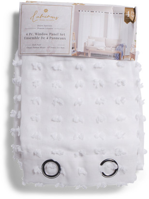 Set Of 4 35x84 Sophie Sheer Embroidered Tufted Curtains