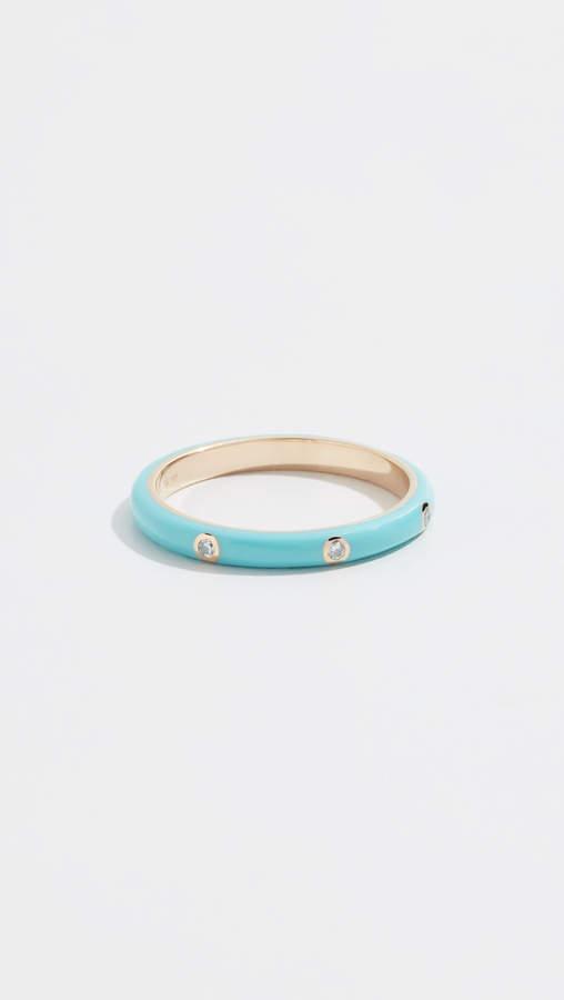 Ef Collection 14k Three Diamond Enamel Stack Ring