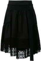 Alberta Ferretti lace trim asymmetric skirt - women - Cotton - 40