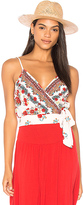Band of Gypsies Rose Tie Crop Top in Red. - size L (also in S,XS)