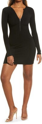 Naked Wardrobe Zip-It Snatched Long Sleeve Rib Minidress