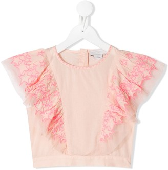 Stella McCartney Kids star pattern cropped T-shirt
